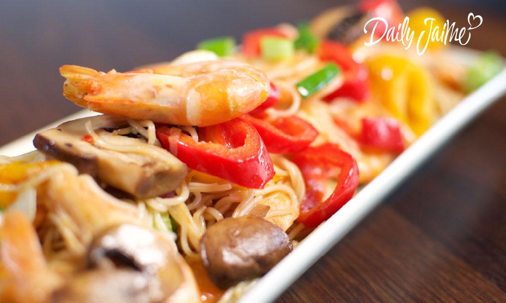 noodles van quinoa met gamba's